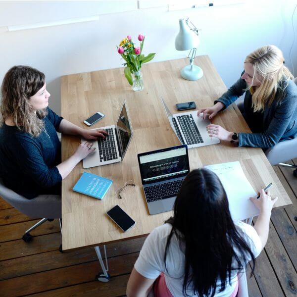medical transcriptionists working at office